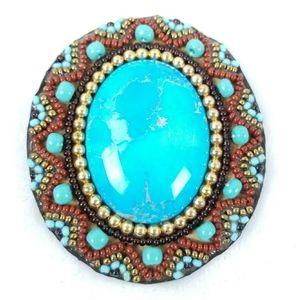 Vintage Artisan Beaded Leather Brooch Mary Solana